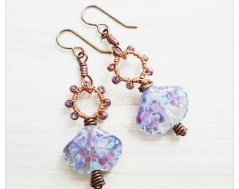 Lampwork seashell earrings - wirework earrings