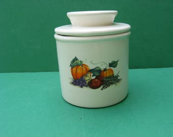 Awesome fall harvest pumpkin, apples, grapes ceramic butter crock...made in USA.. FREE SHIPPING!!!