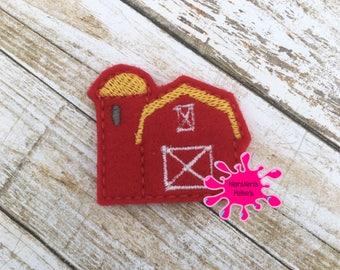 UNCUT Red Farm Barn -  embroidered felt embellishment felties (set of 4)