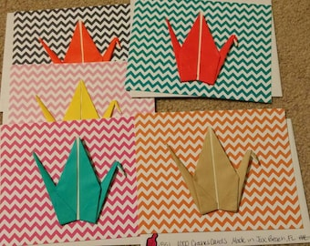 Origami cranes 4x5 greeting card set in clear box