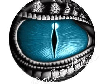 2 illustrated cabochon 16mm domed glass cabochon steampunk dragon eye image