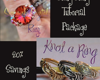 Wire Jewelry Tutorials, Intermediate Ring Tutorial Package 20% Discount, Instant Downloadable PDF File, Wire Wrapping Tutorial, Wire Pattern