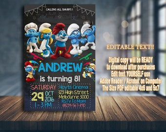 Handmade Smurfs Invitation for Baptism Christening Smurfs