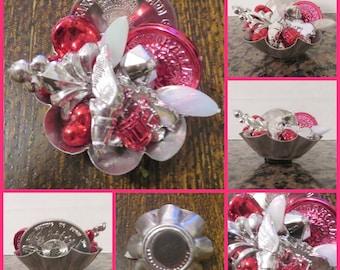 Fleur de Lis Silver and Red Mardi Gras Assemblage