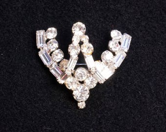 Art Deco Rhinestone Brooch with matching earrings