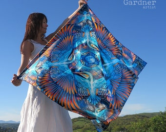 Kingfisher Scarf, sarong, kingfisher spirit, mother and baby, wing scarf, animal scarf, shaman scarf, mothers day gift, daughter gift