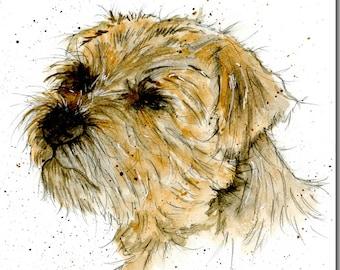 Border Terrier Greeting Card - Dog Birthday Card, Blank Inside, Watercolour, Animal Card