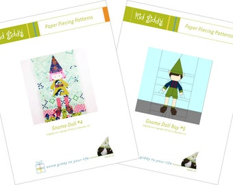 Gnome Doll Girl #4 & Boy #5 Bundle PDF Paper Piecing Patterns