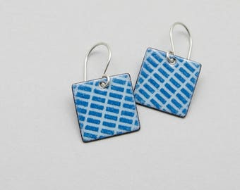 Blue Dangle Earrings - Enamel on Copper Squares - Sterling Silver Earwires - Modern Jewelry for Everyday Wear - Birthday Gift for her