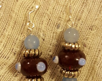 Perriwinkle Blue Polka Dot Lampwork Beaded Earrings with Light Blue Round Beads and Tibetan Silver Hardware