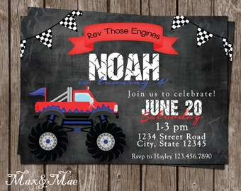 Monster Truck Birthday Invitation, Monster Truck Party, Rev Those Engines, Monster Truck Birthday, Digital