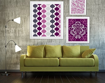 Collage Wall Art Gallery - Set of (3) - Prints - Custom CHOOSE your own size!!! Damask and geometric pattern purple shades with Grey Art Wal