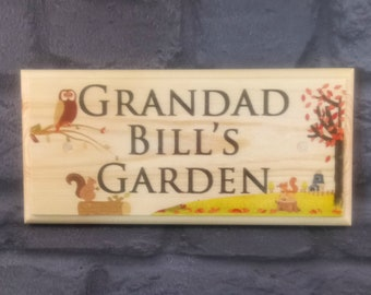 Personalised Garden Plaque / Sign / Gift - Autumn Grandad Shed