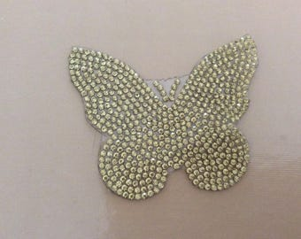 Appliques with Rhinestones 8 * 7 cm Butterfly a stick to iron ironing