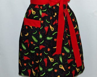 Chili Peppers Waist Apron,  Short Apron,  Hostess, Vendor, Waitress Half Apron, With Pockets, No Shipping Fee, Ready To Ship TODAY, AGFT 015