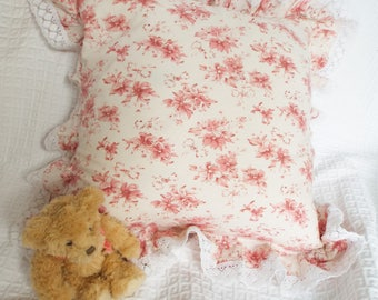 Pink floral cotton feather cushion Lace frill edged cotton cushion White and pink floral and lace cushion Cottage floral feather cushion