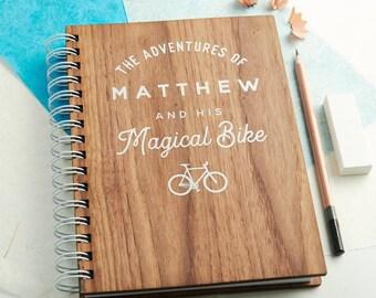 Personalised 'Magical Bike' Walnut Notebook
