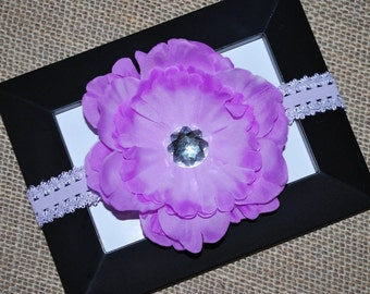 Purple Flower Hair Clip and Lace Headband - Buy 3 Items, Get 1 FREE