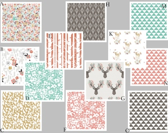 Coral, Mint and Gray Woodland Baby Girl Custom Crib Baby Bedding - Fawn in Tulip