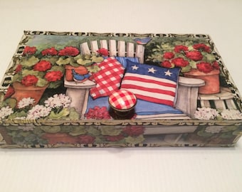 All American decorated cigar box!
