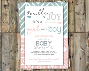 Twin Baby Shower Invitation - Twins - Boy & Girl- Personalized