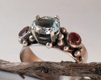 Topaz and Oregon Sunstone Silver Ring