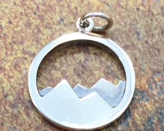 Mountain Range Charm, Mountain Charm, Nature Charm, Outdoors Charm, Sterling Silver Charm, Sterling Silver Pendant, PS01334