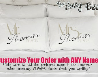 Personalized Mr. and Mrs., Couples Custom Printed Pillowcases (Set of 2) Wedding, Anniversary, Bridal Shower Gift