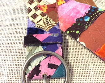 Colorful Wide Fabric Collage Boho Belt Small/Medium Size Adjustable with Buckle