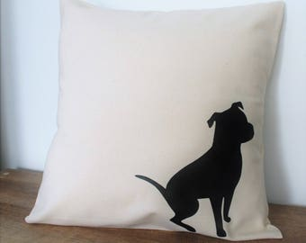 Pit Bull Pillow Cover Natural Color Canvas with Black Pit Bull Shape Natural Ears 18x18 Inch Cover Made to Order