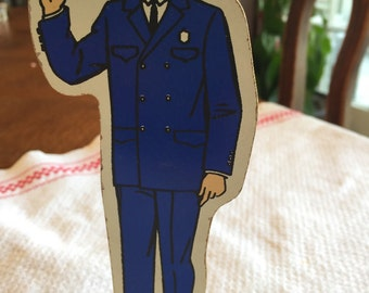 "Vintage Guidecraft Community Helpers; Wooden; Policeman, 5"" Tall"