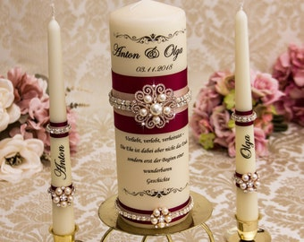 Personalized Unity Candle Set Rose Gold Wedding Candle Set Pearl Wedding Candles Burgundy Wedding Candles