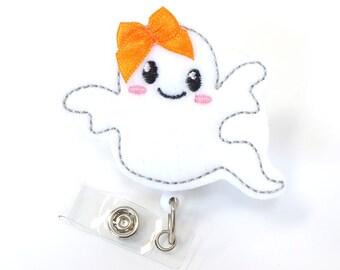 Friendly Ghost - Halloween Badge Holders - Cute Badge Reels - Unique Retractable ID Badge Holder - Felt Badge Reel - RN Badge - BadgeBlooms