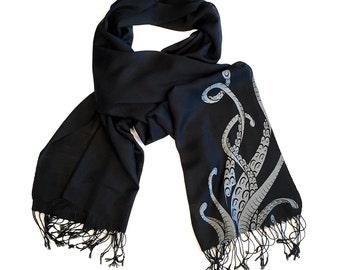 Octopus Tentacles Scarf. Sucker Print pashmina, Cthulhu, Lovecraft fan gift. Linen weave pashmina, hand screen printed. Choose black & more.