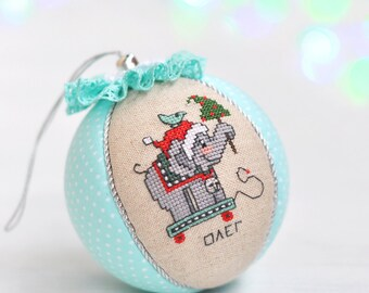 Baby Boy First Christmas Ornament. Personalized Baby's First Christmas Ornament. Elephant Christmas Ornament. Baby's First Christmas Bauble