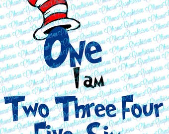 One I Am, with numbers wording up to Six SVG