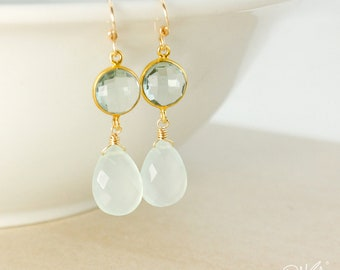 Aqua Quartz & Aqua Chalcedony Teardrop Earrings - Something Blue - Sea Green Chalcedony, Mint Green Chalcedony, 14Kt Gold Filled