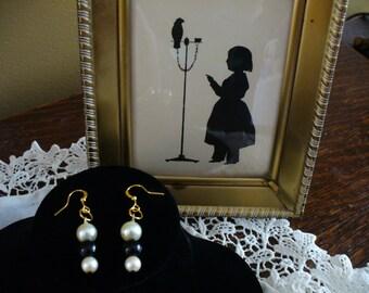 Pearl Earrings,  Black Glass Bead Earrings,  Re-purposed Earrings, Affordable Earrings, Black and White Earrings, Classic Earrings