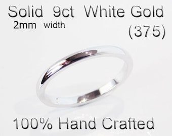 9ct 375 Solid White Gold Ring Wedding Engagement Friendship Half Round Band 2mm