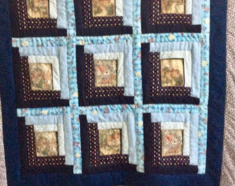 Patchwork Quilt - Log Cabin  - couch throw - handmade - Hostess gift  - lap quilt - cabin decor - blue quilt - cotton - country decor
