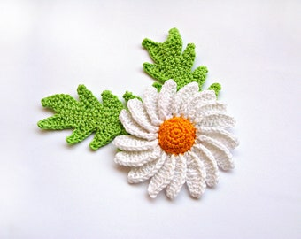 Crochet Flower Appliques White Daisy with Leaves Crochet Appliques Crochet White Flowers Crochet Decor Flowers Craft Supplies Embellishment