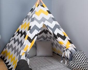 Happy tipi, Kids Wigwam, Tipi Tent, Kids Teepee, Childrens fabric Teepee Tent For Kids, Kids Teepee Tent cave Play Teepee, Christmas present