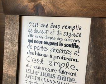 """Plaque """"Grand-Maman C'est Une Âme"""""""