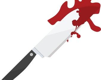 bloody knife etsy rh etsy com Holding Knife School Clip Art
