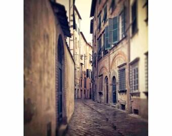 Tuscany photography cobblestone street, Italian village windows doors, Italy photograph, wall art-  Medieval Way (Vertical. See full image)