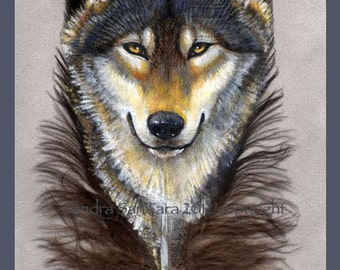 Wolf Guardian Feather Print