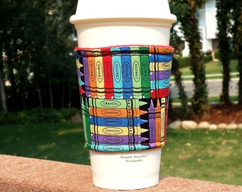FREE SHIPPING UPGRADE with minimum -  Coffee cozy / teacher gift / coffee sleeve / coffee cup holder / tea sleeve -- Crayons - Last One