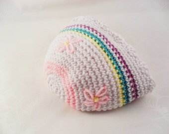 6 - 12 month size crocheted pastel colored hat with embroidered flowers for babies, toddlers and children photo prop