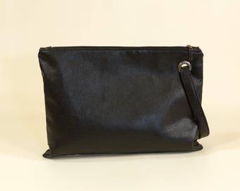 SPRING SALE Vegan Clutch Handbag Black Vegan Clutch Black Wristlet Clutch Gift Idea For Women Handbag with Inner Tube Everyday bag