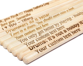 2 Vic Firth™ American Classic 5A Professional Drum Sticks –PERSONALIZED, Laser Engraved, customized gift for Drummer, Gift for Him, wood tip